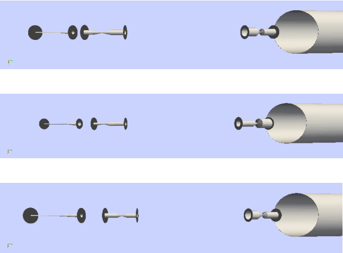 Visualization of the focusing system chosen by the optimization using a NuMI-style target (top), a Beryllium fin target (middle) and a cylindrical target (bottom).