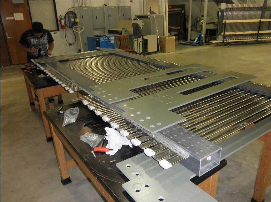 Field cage top panel assembly, October 2016. Photo: CPA/HV team